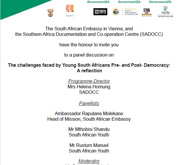 Invitation:  The Challenges faced by Young South Africans Pre- and Post- Democracy: A reflection